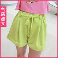 Women's 2013 summer neon color elastic waist lacing loose shorts straight pants e0546