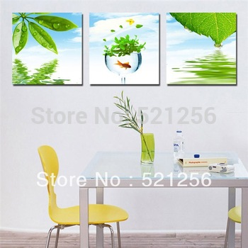 3 Pieces Free Shipping Modern Wall Oil Painting Beautiful Abstract Green Leaf Wall Art Picture Paint on Canvas Prints BLAP454