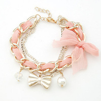 New Fashion Gold Metal Braided Alloy Chiffon Chain Bracelet Multilayer Fabric Crystal Pearl Bow Pendant Charm Braclet