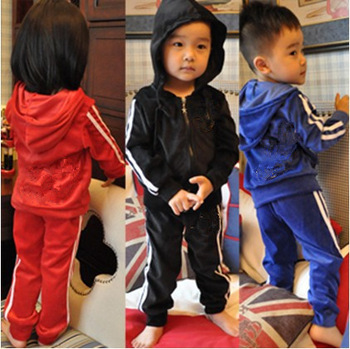 STZ-070, 5sets/lot Free shipping factory outlet children suit velvet baby sport set kid 2 pcs clothes coat+pants Wholesale