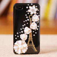 Free shipping For Samsung galaxy Note 2  N7100 i9500 i9300 grand duos i9082 iphone 5 4 4s case bling 3D rhinestone Eiffel Tower