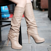 2013 Free shipping high-leg female boots spring and autumn boots black round toe platform high-heeled long boots plus size