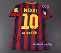 Top Player version thailand quality Barcel 13-14 Home Jersey soccer shirt MESSI 10 free shipping S,M,L,XL