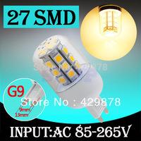 5pcs G9 Warm White 27 LED SMD Home Corn Bulb LED Light Lamp 85-265V 110V 220V 230V With Cover 5050