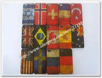 New Matte Vintage Retro US UA UK Canada AU SP Brazil Countries Flags Cases For iPhone 4 4S 50pcs/lot HK POST Ship