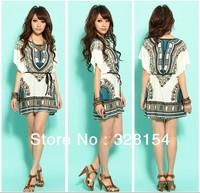 New 2014 fashion shirt Women ladies casual dress Mini dresses Ice silk cotton bat tops tunics retro Bohemian dresses