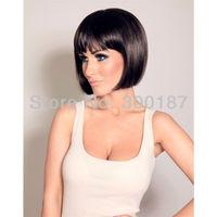 17 colors short black mix BOB natural real Hair Wig,BOB Short Straight Synthetic Wigs for women Lady's black Hair Free shipping