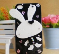 free shipping Cartoon Rabbit With mirror hard case for iphone5 Rhinestone Phone Case wholesale supply