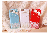 free shipping case for iphone 5  with Small and pure and fresh pearl bowknot case Support wholesale