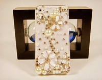 free shipping case for iphone 5 Luxury diy Rhinestone Phone Case whith Pearl flower hot sale case for iphone5  wholesale supply