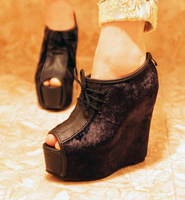 2013 fashion open toe platform wedges boots ankle-length boots ultra high heels shoes sexy platform women's single boots