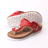 Summer new arrival children shoes casual dot herringbone slippers size female shoes red