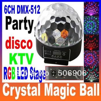6 Channel DMX512 Control Digital LED RGB Crystal Magic Ball Effect Light DMX Disco DJ Stage Lighting 90-240V Free Shipping