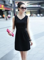 The new spring dress fashion summer V collar self-cultivation all-match fashion skirt