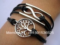 Free Shipping!12pcs/lot!Silver Alloy Tree Black Leather Cuff Bracelet Charm Fashion Infinity Man Costume Summer Jewelry K-012