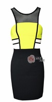 Free shoping NEW ARRIVALS  Fashion fluorescent color stitching CUT OUT Dress perspective grid. Party Dress TB 5223
