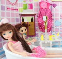 Beautiful Gift Box Genuine Automatic water Bathroom Doll Play sets sweet home Play house toys Doll For girl