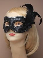 Free Shipping black Sequin and feather detail face masquerade mask
