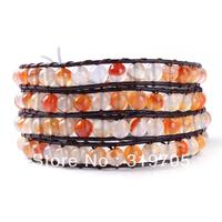 2013 hot sale newest leather bracelet orange and white crystal wholesale