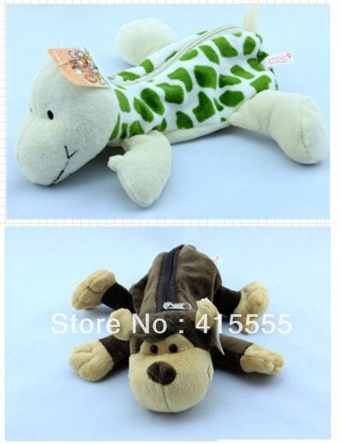 NICI animals cartoon pen pencil plush toys bag cloth art stuffed bags hot sale free shipping for christmas gift(China (Mainland))