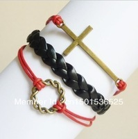 Free Shipping!12pcs/lot!Braided Black Leather Ribbon Cross Knitting Circle Charm Bracelet Fashion Costume Alloy Jewelry K-014