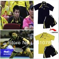 free shipping 1set 2013 Li-Ning NEW Women/Man/s Badminton / Tennis  Polo Shirt+shorts