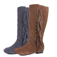 Boots fashion boots tassel boots women's high-leg spring and autumn genuine leather low-heeled winter warm boots