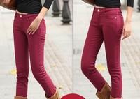 Plus size elastic boot cut jeans thickening jeans skinny pants multicolour plus velvet pencil pants female autumn and winter