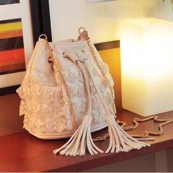2015 chain bucket tassle women's handbag one shoulder cross-body bag portable woman lace bag cute