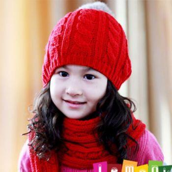 Noabat child yarn ear protector cap rabbit fur ball baby hat scarf one piece cap multicolor