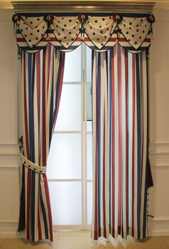Fabric - customize navy style fresh polka dot stripe bedroom curtain