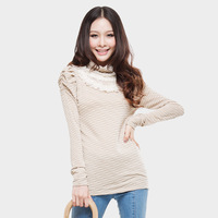2013 spring new arrival pullover sweater all-match stripe autumn basic shirt lace slim long-sleeve T-shirt Women
