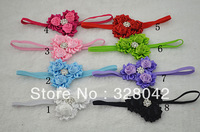 Trail order triple satin rose flower with rhinestone satin ribbon flower on Thin Elastic headbands hair accessories 30pcs/lot
