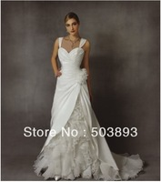 Free shipping 2014 new arrival white ruffles wedding dress with big flowers strapless bare back dresses couture wedding gowns