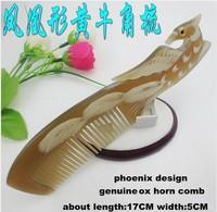 Wholesale 5PCS/lots Natural genuine ox horn comb phoenix design comb gift comb hair comb -J710240