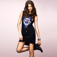 2014 New Fashion Women Hallucinogenic Space Pattern Print One-piece Dress Short Flash Sweep One-Piece Dress