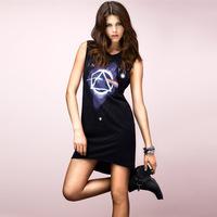 2014 New Fashion Women Hallucinogenic Space Pattern Print One-piece Dress Short Flash Sweep One-Piece Dress