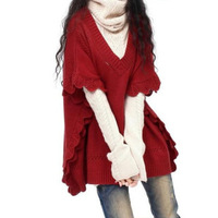 2013 spring female V-neck women's batwing type short batwing sleeve sweater