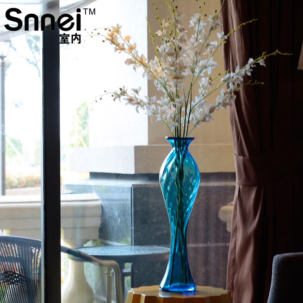 Indoor snnei zeemeermin blauwe lange vaas eettafel decoratie transparant glas kwaliteit mode in - Mode decoratie ...