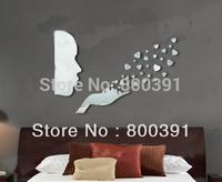 Hot SELL blow a kiss mirror wall decor, Romantic home decor wall sticker mirror wall stickers
