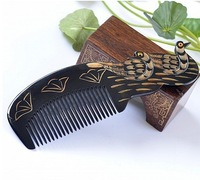 1PCS Carved Natural ox horn Mandarin duck comb natural horn carving comb - J710225