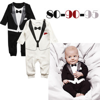 2013 new autumn baby gentleman romper,black and white boys  infant long sleeve climb clothes kids outwear/clothes 3sets/lot
