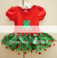 5 SIZES Short-sleeves children  xmas clothing kids christmas dress girls red dots dresses for girl IT