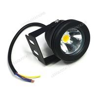 Flat Lens 10W Round Shape 900 Lumen Flood Light Outdoor Lamps Black Shell Waterproof Free Shipping