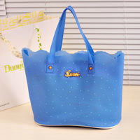 Vivi 2013 polka dot jelly female bags plastic beach one shoulder transparent