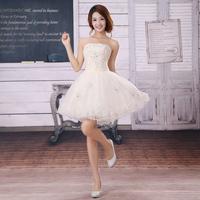 Dress short design bridesmaid dress puff skirt the bride married yarn champagne color slim princess dress xlf112