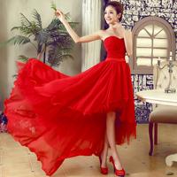 New arrival 2013 low-high formal dress bride evening dress red evening dress lf7568