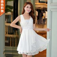 2013 spring and summer one-piece dress V-neck sleeveless bow ruffle irregular chiffon skirt elegant