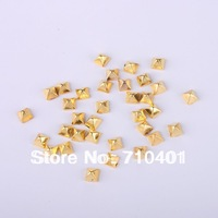 Xmas Item Free Shipping Wholesale/Nails Supply, 100pcs 3D Glitter Gold Pyramid-shaped Metallic DIY Acrylic Nail Design/ Nail Art