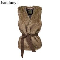Note haoduoyi belt long paragraph vest brown fur vest fur vest 5 full  size plus